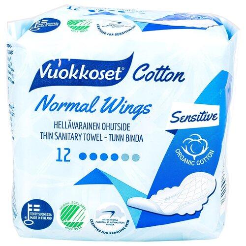 Купить Vuokkoset прокладки Cotton Normal Wings, 4 капли, 12 шт.