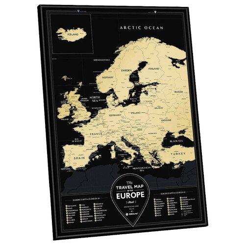 1DEA.me Скретч Карта Европы Black, 40 × 60 см