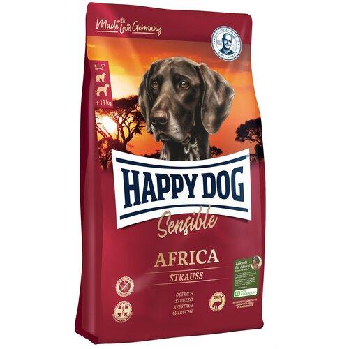 Сухой корм для собак Happy Dog Supreme Sensible, для здоровья кожи и шерсти, при чувствительном пищеварении, страус, с картофелем 4 кг (для средних и крупных пород) корм сухой happy dog тоскана для собак средних и крупных пород с уткой и лососем 4 кг