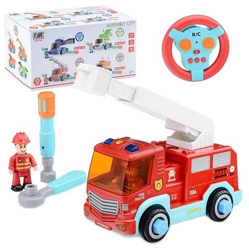 Купить Машина-конструктор Oubaoloon р/у, 27 MHz, Спецтехника , с фигуркой водителя и 2 гаечных ключа, свет, звук, в коробке (162-1A), Радиоуправляемые игрушки