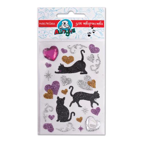 "Наклейки ЛИПУНЯ ""Блестящие кошки с сердцами"", с европодвесом, JGS001"
