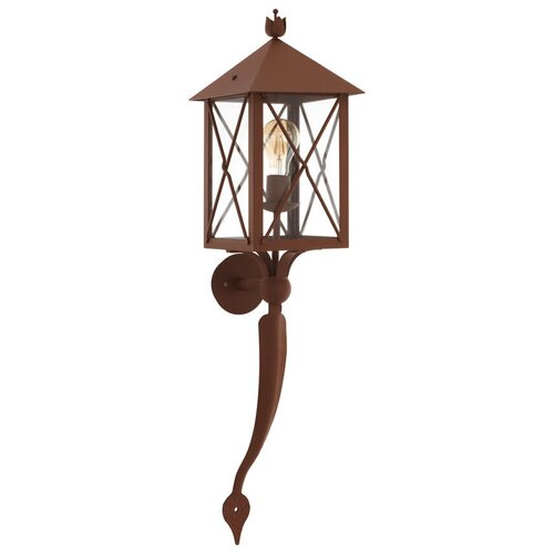 Eglo Настенный светильник Gaudesi 64754, E27, 60 Вт, цвет арматуры: коричневый, цвет плафона бесцветный светильник eglo obregon 95384 e27 60 вт