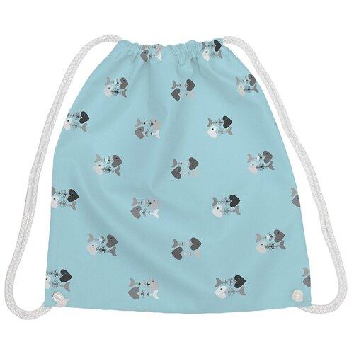 JoyArty Рюкзак-мешок Сердешные скелетики bpa_164362, голубой joyarty рюкзак мешок радужные окошки bpa 207087 голубой