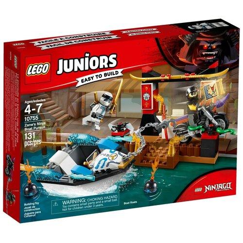 Фото - Конструктор LEGO Juniors 10755 Преследование на лодке Зейна конструктор lego ninjago бронированный носорог зейна