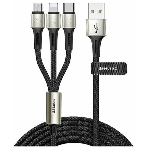 Фото - Кабель Baseus Caring Touch Selection USB - microUSB/Lightning/USB Type-C (CAMLT) 1.2 м, черный кабель baseus u shaped usb lightning usb type c camutc 0 23 м черный