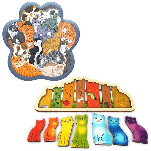 Набор рамок-вкладышей Нескучные игры Кошки (8067) + Разноцветные котята (7932) набор фигурок нескучные игры