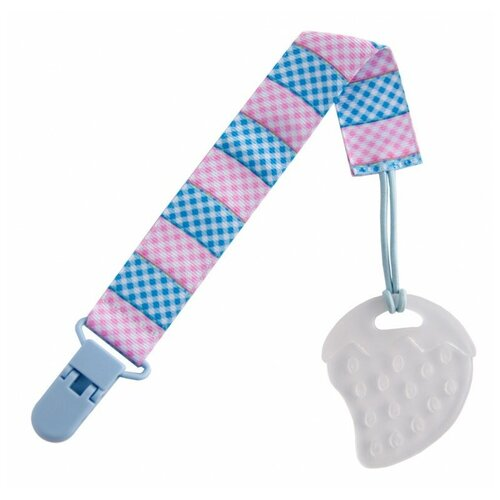 Прорезыватель ROXY-KIDS Клубничка на держателе голубой/розовый/клеточка недорого