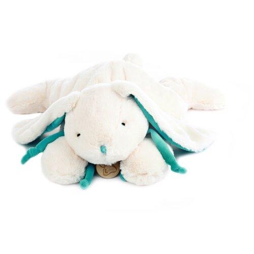 Мягкая игрушка Кролик 30 см белый/бирюзовый