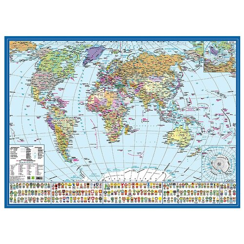 РУЗ Ко Политическая карта мира Гербы и флаги (Кр573п), 59 × 43 см