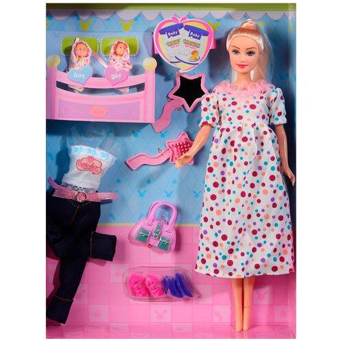 Купить Кукла детская для девочек Defa , в комплекте беременная кукла-мама с 2 куклами-младенцами и 5 аксессуарами, в/к 23.5*6*32.5см, Куклы и пупсы