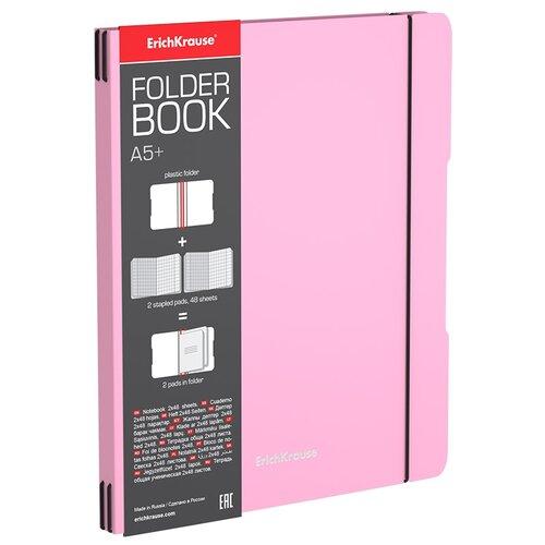 Тетрадь общая ученическая в съемной пластиковой обложке ErichKrause FolderBook Pastel, розовый, А5+, 2x48 листов, клетка тетрадь общая ученическая в съемной пластиковой обложке erichkrause folderbook accent красный а5 48 листов клетка