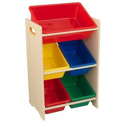 Стеллаж KidKraft с 5 контейнерами 43х30х74 см Primary & Natural эксклюзивный книжный шкаф kidkraft primary 14226 ke