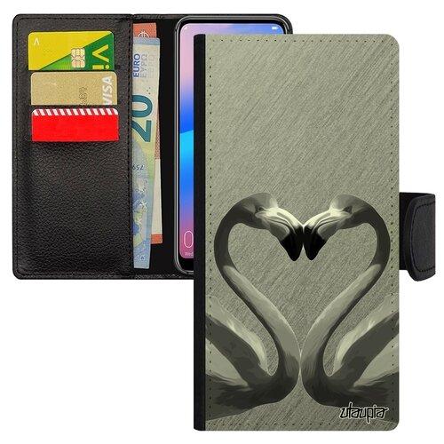Чехол книжка на мобильный Huawei P20 Pro уникальный дизайн Фламинго Семья Символ