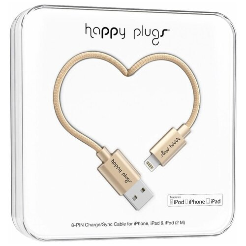 Кабель Happy Plugs Lightning to USB Charge/Sync MFI 2 м, matte gold