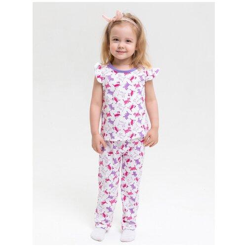 Купить 2730927 Пижама: Футболка, брюки Пижамы 2020 , КотМарКот, размер 98, состав:100% хлопок, цвет Белый, KotMarKot, Домашняя одежда