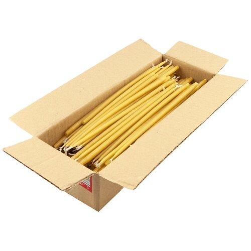 Свеча церковная 100% воск, конусная, высота: 22 см, диаметр: 7 мм, вес: 2000 г, 300 шт., цвет: желтый по цене 2 750