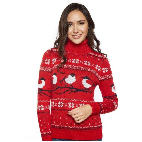 Шерстяной свитер, классический скандинавский орнамент со Снегирями и снежинками, натуральная шерсть, красный, белый цвет, размер XL