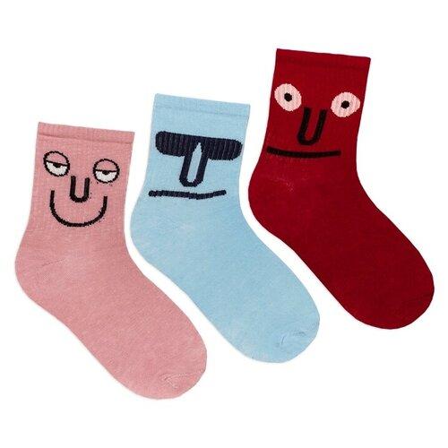 Комплект женских носков с принтом lunarable Лица, голубые, красные, сиреневые, размер 35-39