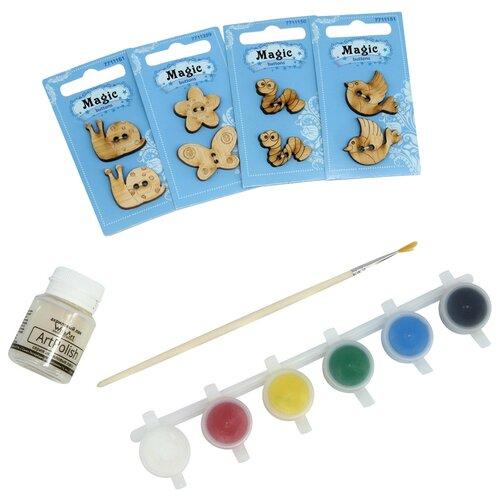 Купить Набор пуговиц для раскрашивания 'Лето' (2-3см), с красками, Astra&Craft, Astra & Craft, Роспись предметов
