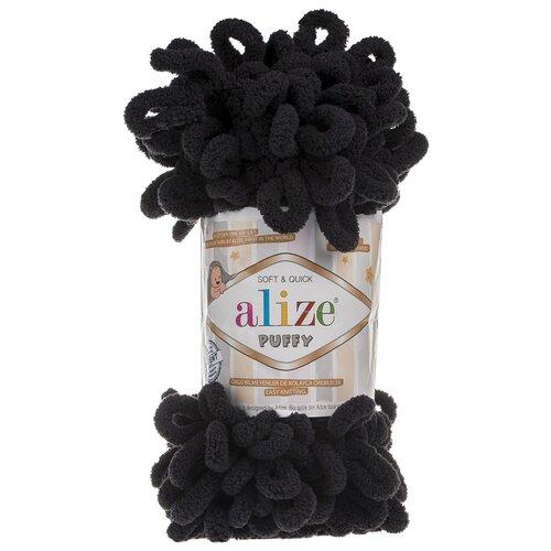Купить Пряжа для вязания Alize 'Puffy' 100г 9м (100% микрополиэстер) (60 черный), 5 мотков
