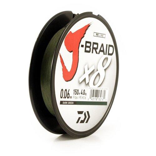 Плетеный шнур DAIWA J-Braid X8 зеленый 0.06 мм 150 м 4 кг плетеный шнур daiwa j braid x8 зеленый 0 24 мм 300 м 18 кг