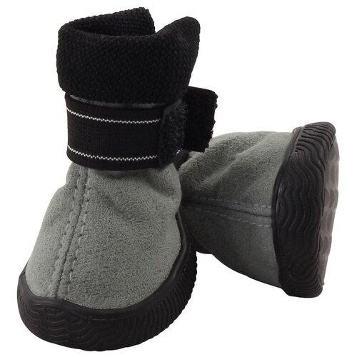 Фото - Ботинки для собак Triol 12241244/249 размер 4 серый / черный triol triol ботинки для собак черные с красным размер l 65х60х75 мм 4 шт