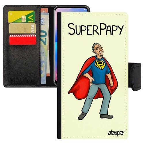 Чехол книжка на мобильный Самсунг Галакси S10Е французский дизайн Супердед Дедушка Смешной
