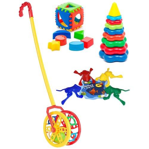 Купить Набор развивающий: Каталка Колесо + Кубик логический малый + Пирамида детская большая + Команда КВА №1 KAROLINA TOYS, Развивающие игрушки
