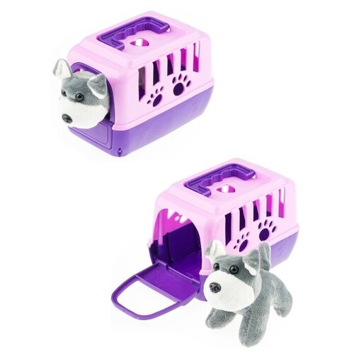Собачка в фиолетовом домике-переноске