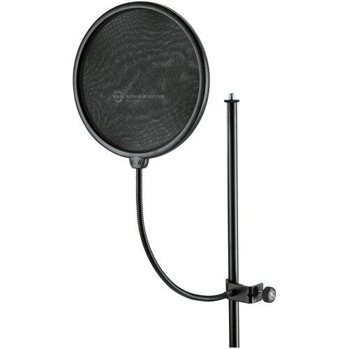 K&M 23966-000-55 Ветрозащита студийная (поп-фильтр) на гусиной шее ширина экрана 200 мм длина шеи 330 мм