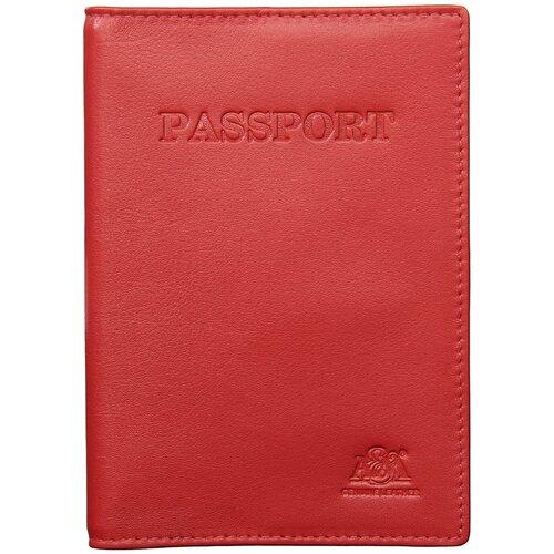 Обложка на паспорт с отделением для карт и визиток A&M в фирменной подарочной коробке, 100% натуральная кожа, красный 6113Normal-red