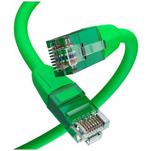 Патч корд 0.5м Safe Solution литой UTP LSZH Lan кабель для интернета категории 6 от GCR 10 Гбит зеленый