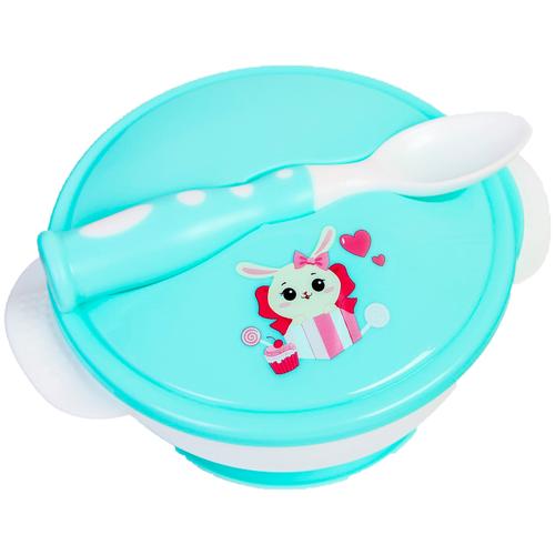 Купить Набор детской посуды «Зайчик», 3 предмета: тарелка на присоске, крышка, ложка, цвет бирюзовый, Mum&Baby, Посуда