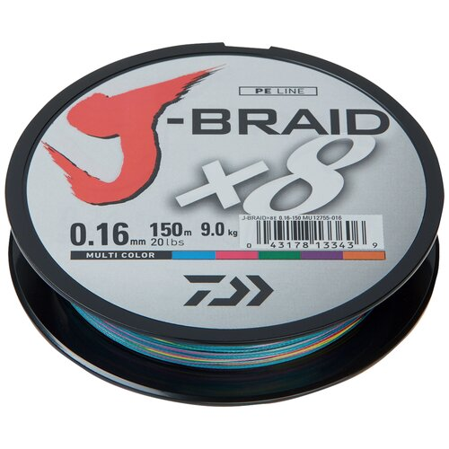 Плетеный шнур DAIWA J-Braid X8 мультиколор 0.16 мм 150 м 9 кг плетеный шнур daiwa j braid x8 зеленый 0 24 мм 300 м 18 кг