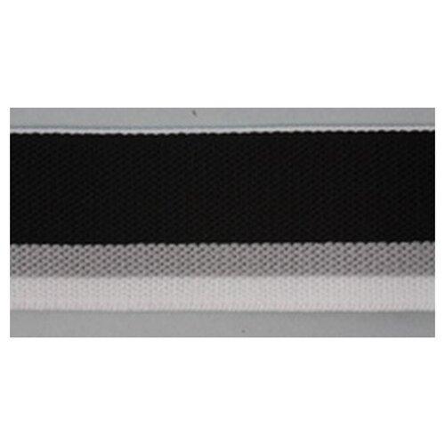Купить Резинка поясная корсажная, 30 мм, цвет черный с серой и белой полосами 68% полиэстер, 32% оптекс, PEGA, Технические ленты и тесьма