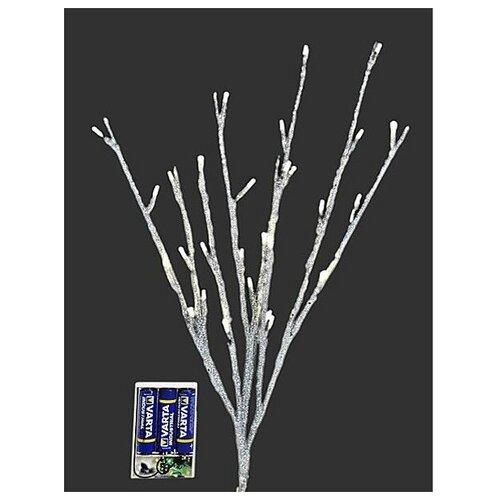 Букет серебряная веточка с глиттером, 30 теплых белых LED-огней, батарейки, 50 см, Kaemingk 482199