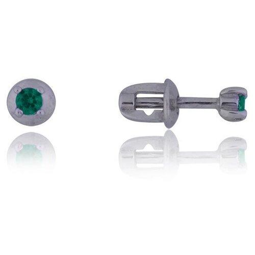 TOP CRYSTAL Одиночная серьга с фианитом, серебряная 40455003-зеленый