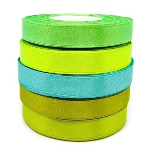 Рукоделие Набор атласных лент 25 м х 12 мм 5 шт. зеленый/голубой