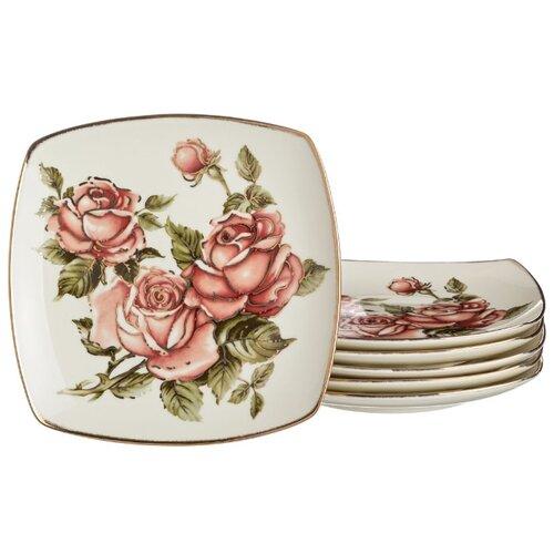 Набор тарелок из 6 шт корейская роза 25 см Lefard (215-145) недорого