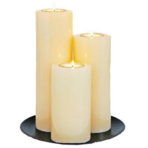 Набор свечей-подсвечников под чайные свечи ТРИАДА, кремовые, 25 см, Омский Свечной 180523-свеча