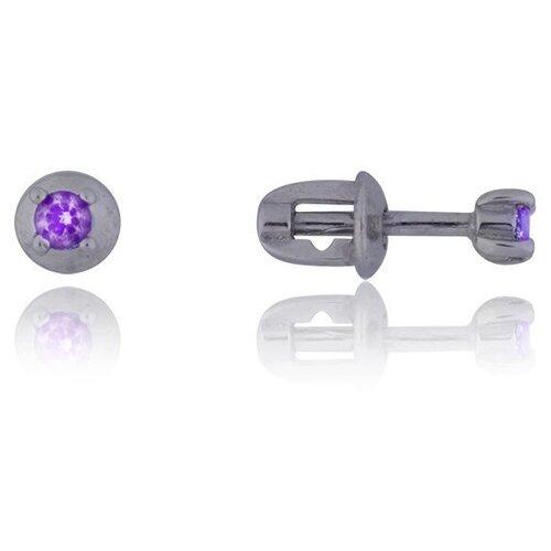 TOP CRYSTAL Одиночная серьга с фианитом, серебряная 40455003-фиолетовый