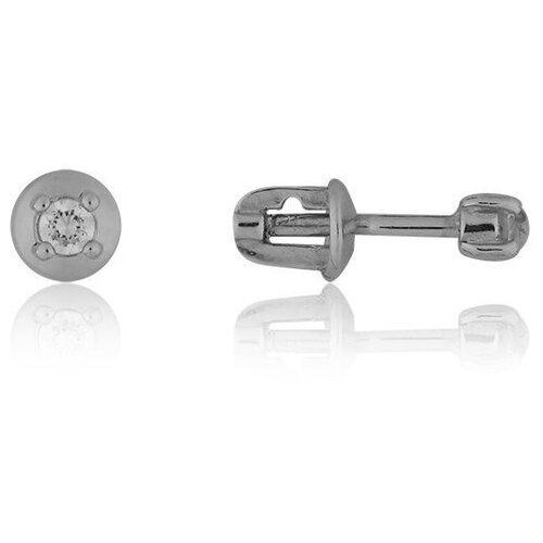 TOP CRYSTAL Одиночная серьга с фианитом, серебряная 40455003-прозрачный