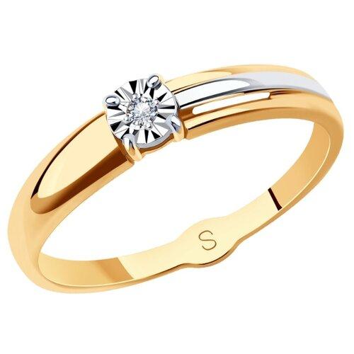 SOKOLOV Кольцо из комбинированного золота с бриллиантом 1011721, размер 17.5