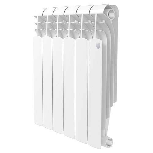 Радиатор секционный биметаллический Royal Thermo Vittoria Super 500 x6 теплоотдача 684 Вт белый биметаллический радиатор rifar рифар b 500 нп 10 сек лев кол во секций 10 мощность вт 2040 подключение левое