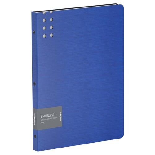 Купить Berlingo Папка с 40 вкладышами Steel&Style A4, пластик синий, Файлы и папки
