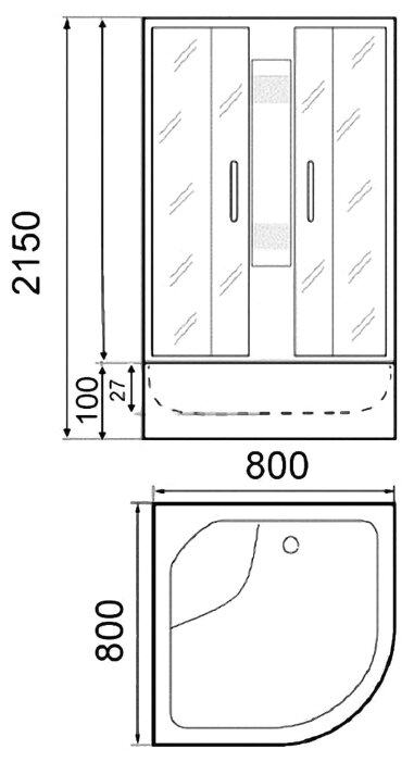 Душевая кабина Parly FQ81 низкий поддон 80см*80см