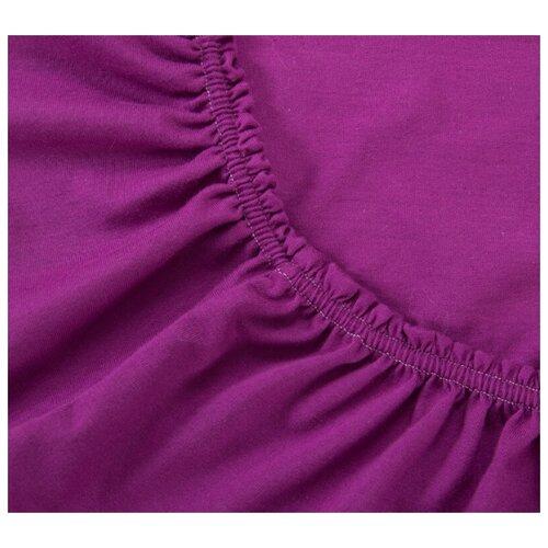 Простыня трикотажная на резинке, Ricotio, 180х200х20см, фиолетовый