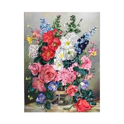 Купить Каролинка Набор для вышивания лентами Букет с мальвами 27 х 35 см (КЛ(н)-3013), Наборы для вышивания