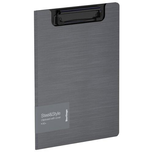 Купить Berlingo Папка-планшет с зажимом Steel&Style A5+, пластик серебристый металлик, Файлы и папки