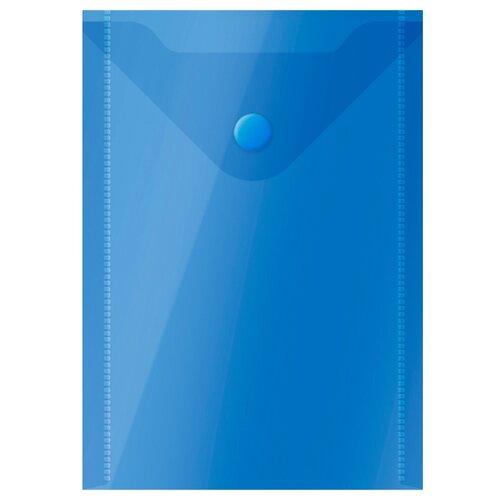 Купить OfficeSpace Папка-конверт на кнопке А6, пластик 150 мкм, 10 шт синий, Файлы и папки